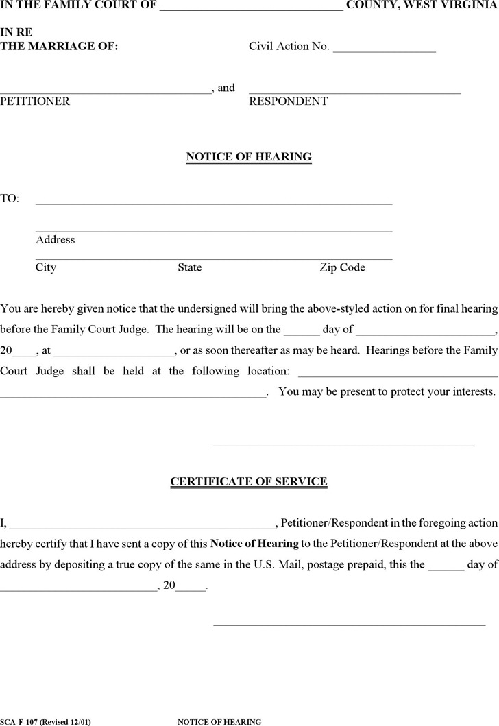 West Virginia Notice of Hearing Form