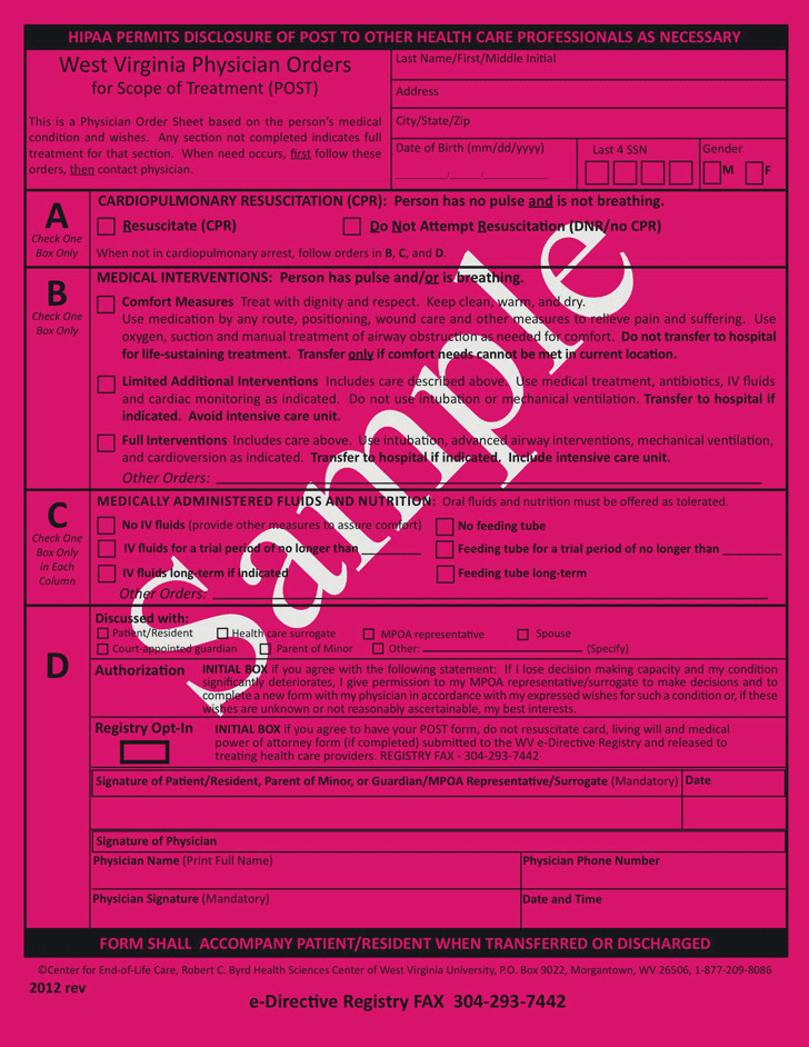 West Virginia Physician Orders For Scope of Treatment (POST) Form