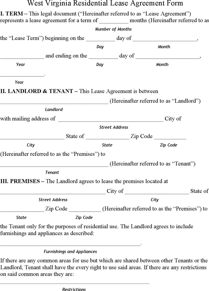 West Virginia Residential Lease Agreement