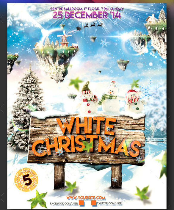 White Christmas Broucher Template Download Photoshop PSD