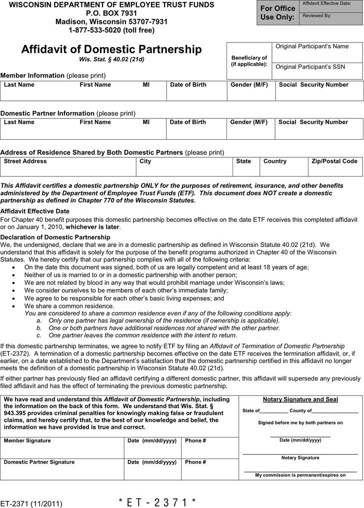 Wisconsin Affidavit of Domestic Partnership