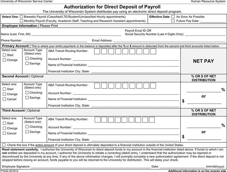 Wisconsin Direct Deposit Form 3