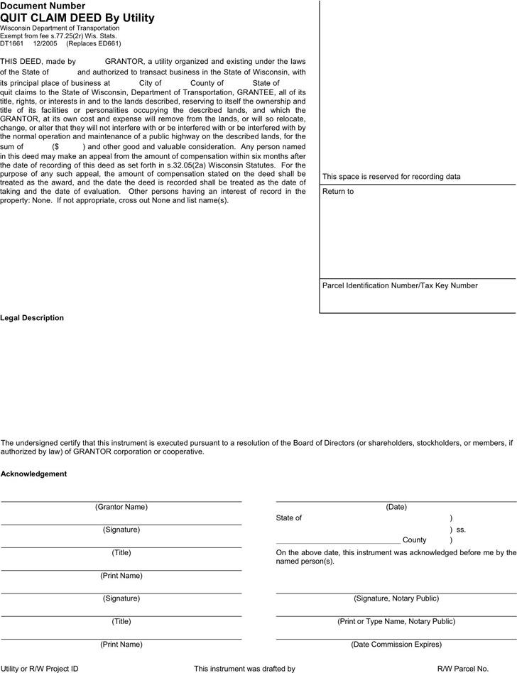 Wisconsin Quitclaim Deed Form 2