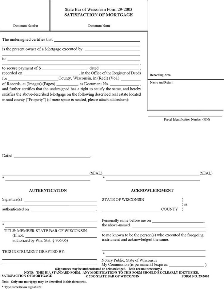 Wisconsin Satisfaction Of Mortgage Form  Download Free  Premium