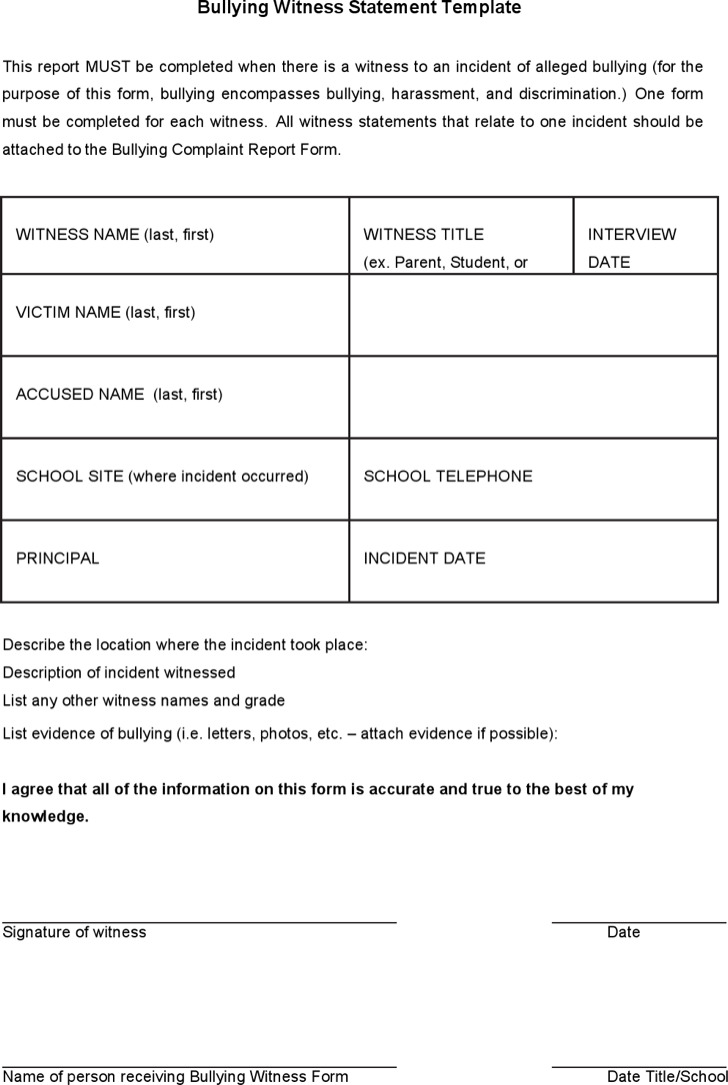 Sample Witness Statement Templates – Sample Witness Statement