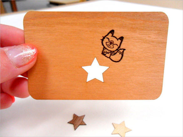 Wooden Business Cards Blank with Star