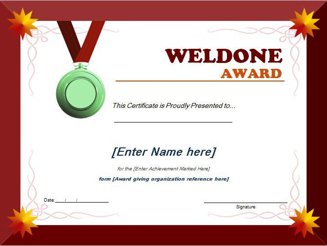 Word Templates Certificates Award Templates For Students