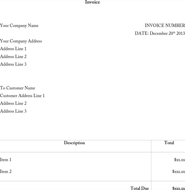 Word Invoice Template1