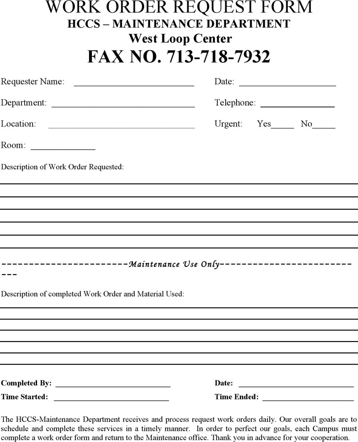 Work Request Form Layout Request Form Information Request Form