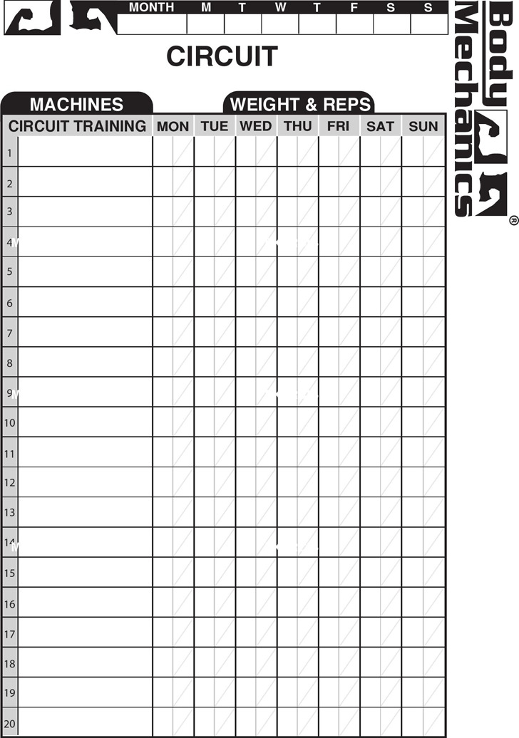Workout Chart | Download Free & Premium Templates, Forms & Samples