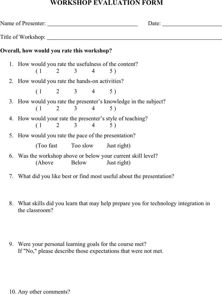 Workshop Evaluation Form 2