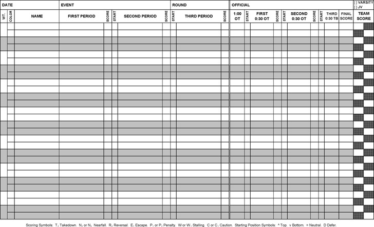 Wrestling Score Sheet | Download Free & Premium Templates, Forms