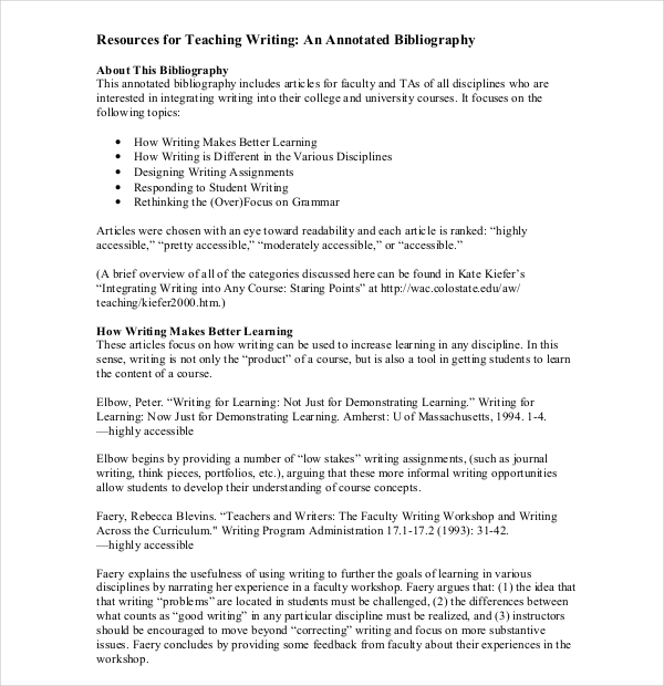 Teaching Annotated Bibliography Templates  Download Free  Premium