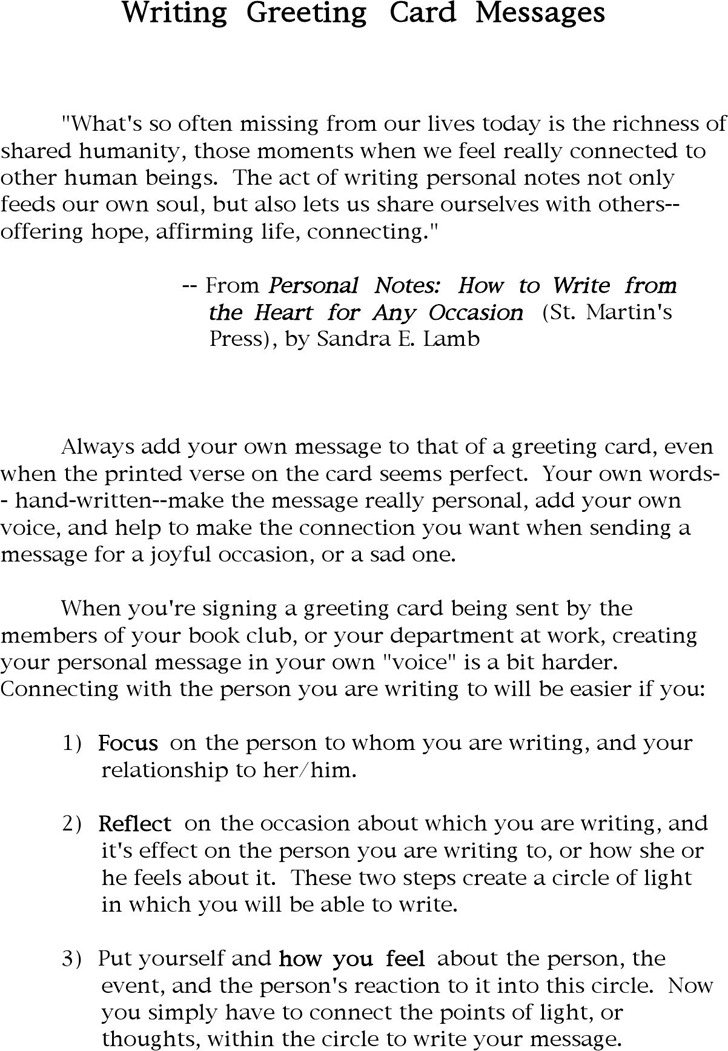 Writing Greeting Card Messages