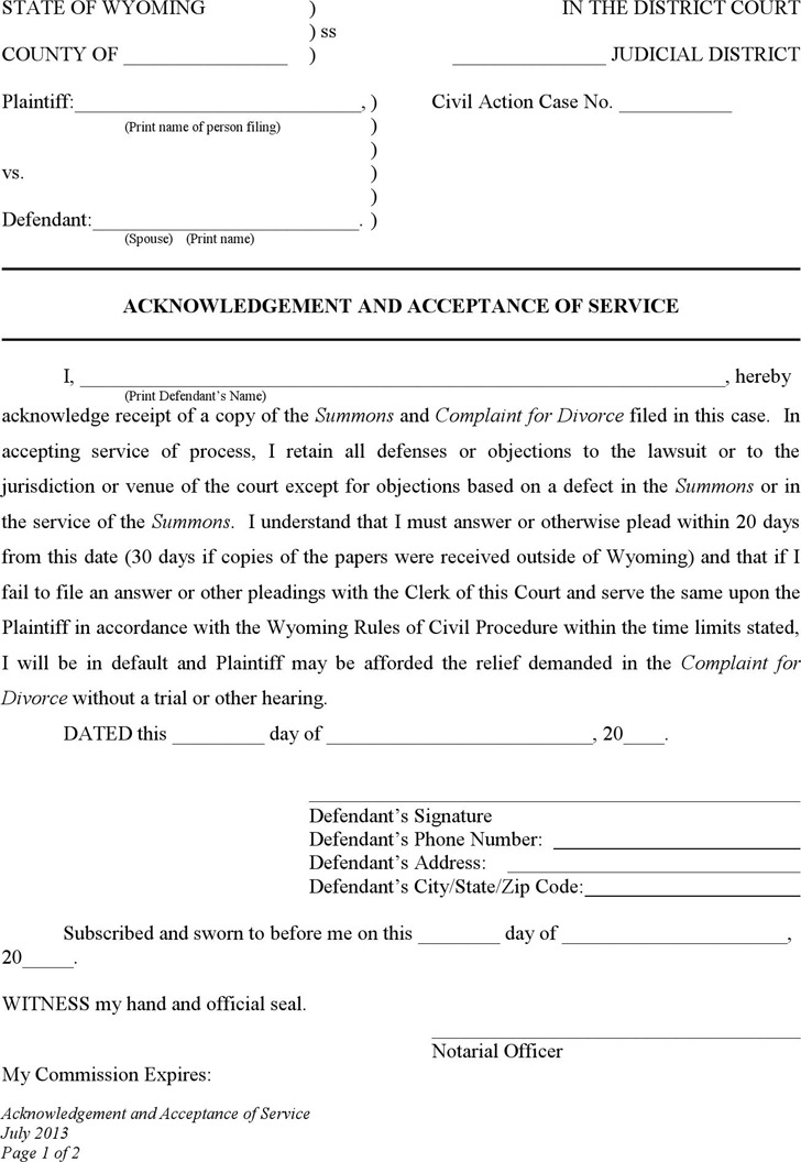 Wyoming Acknowledgement and Acceptance of Service (No Children) Form