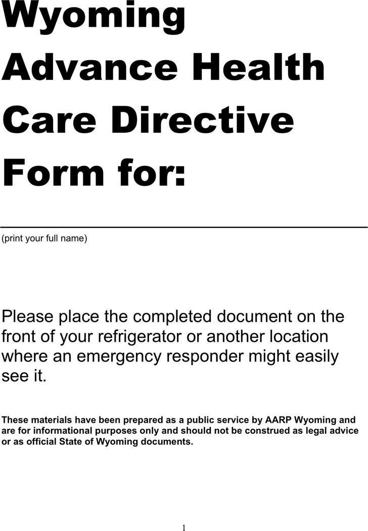 Wyoming Advance Health Care Directive Form 2