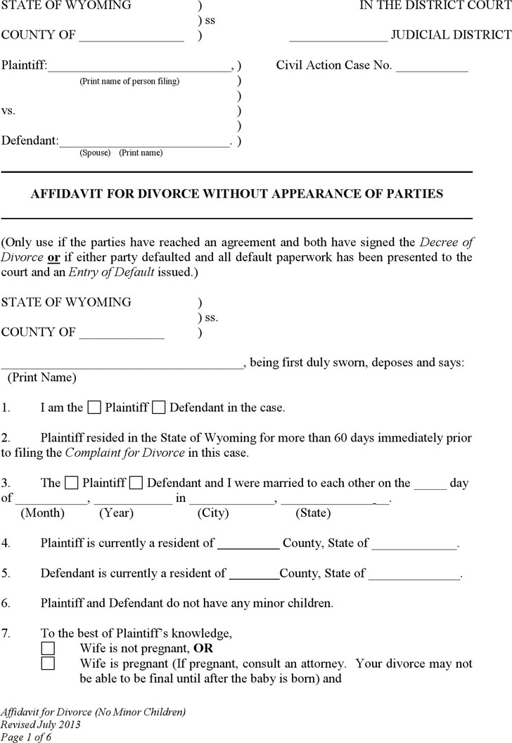 Wyoming Affidavit for Divorce without Appearance of Parties (No Children) Form