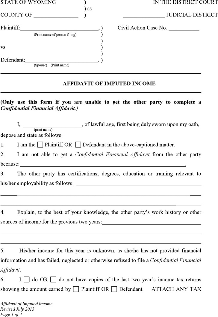 Wyoming Affidavit of Imputed Income Form