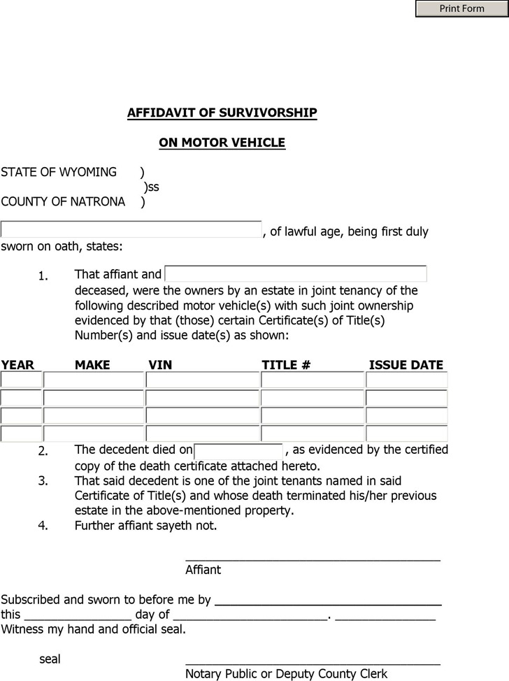 Wyoming Affidavit of Survivorship on Motor Vehicle Form