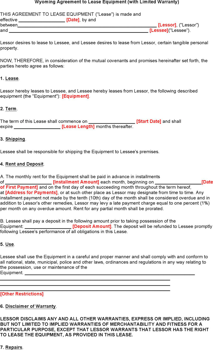 Wyoming Agreement to Lease Equipment (with Limited Warranty) Form