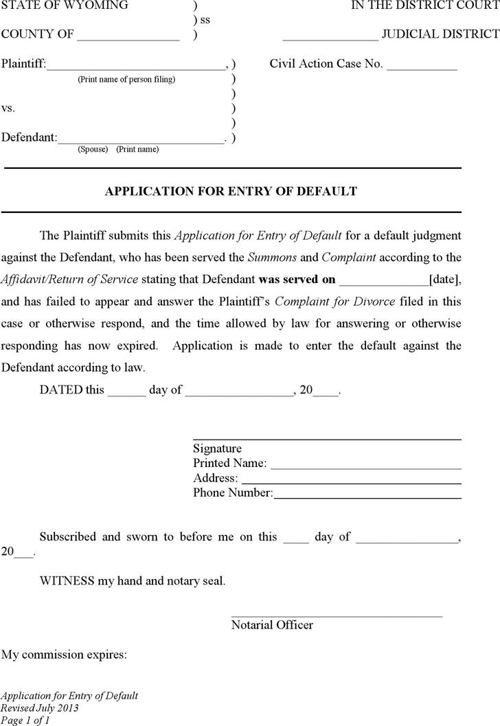Wyoming Application for Entry of Default Form