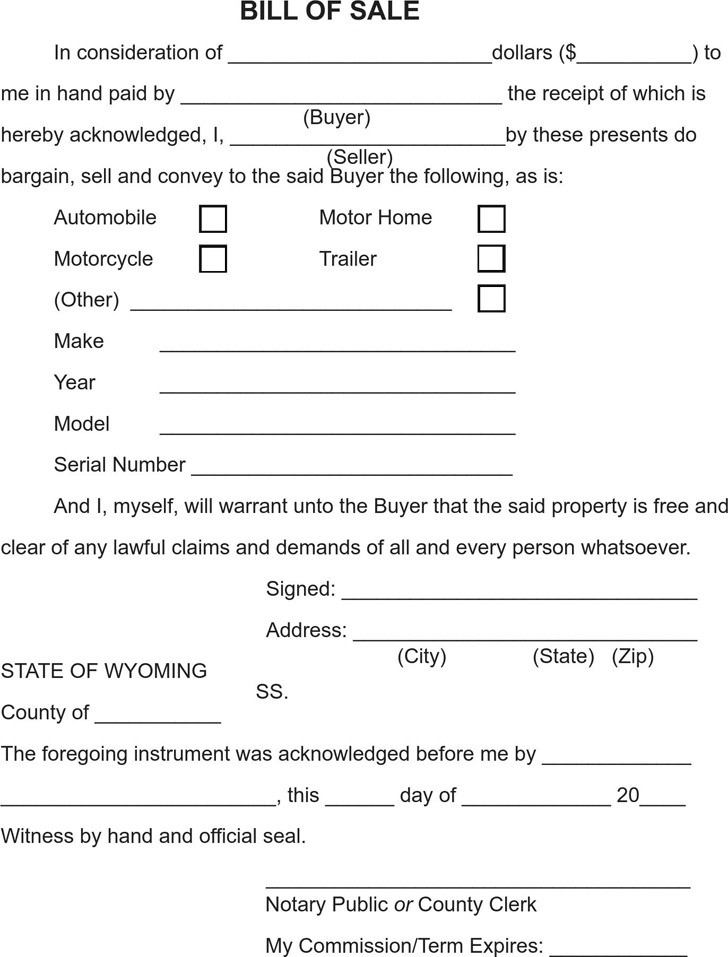 Wyoming Bill of Sale