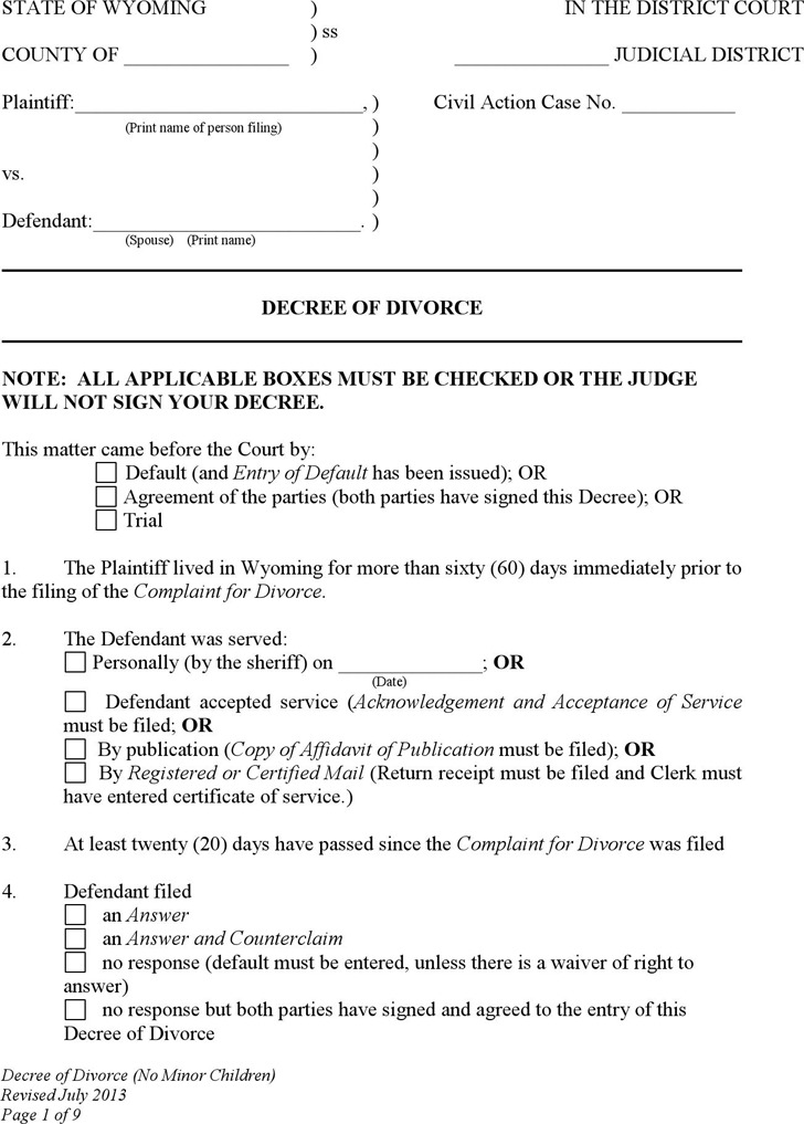 Wyoming Decree of Divorce (No Children) Form