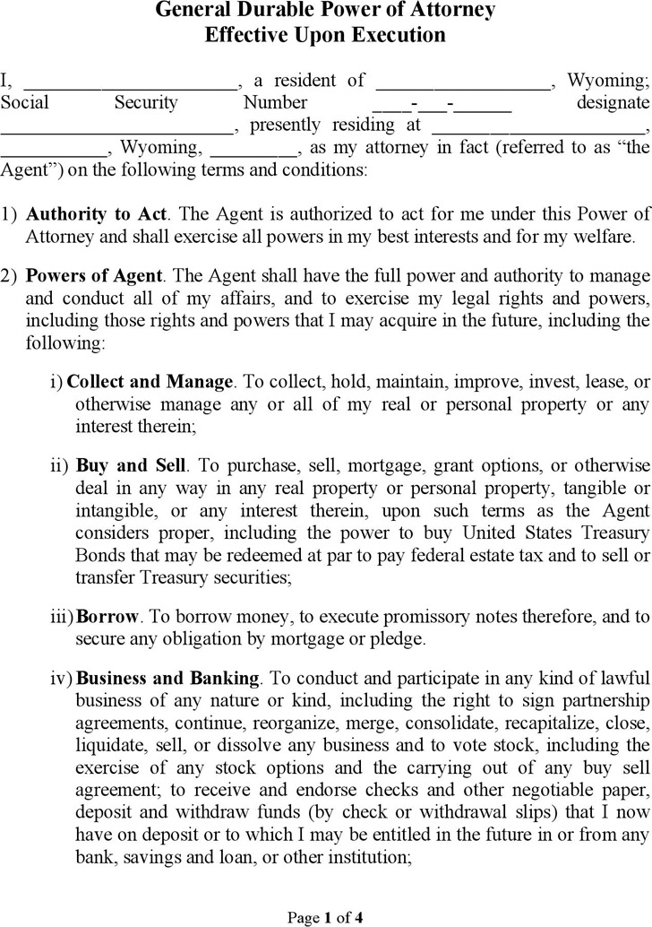 Wyoming General Durable Power of Attorney Form
