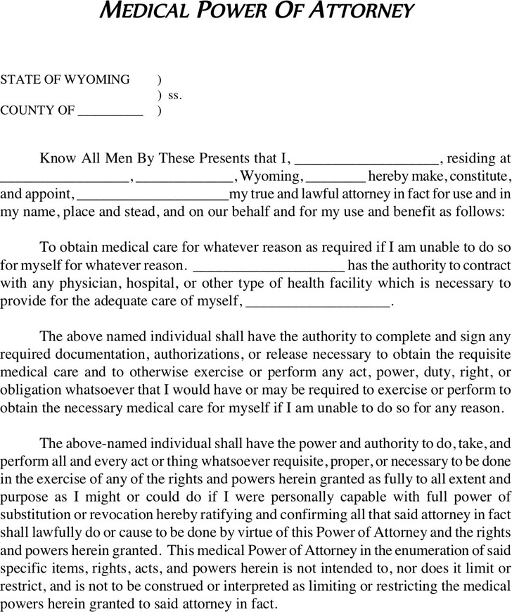 Wyoming Health Care Power of Attorney Form