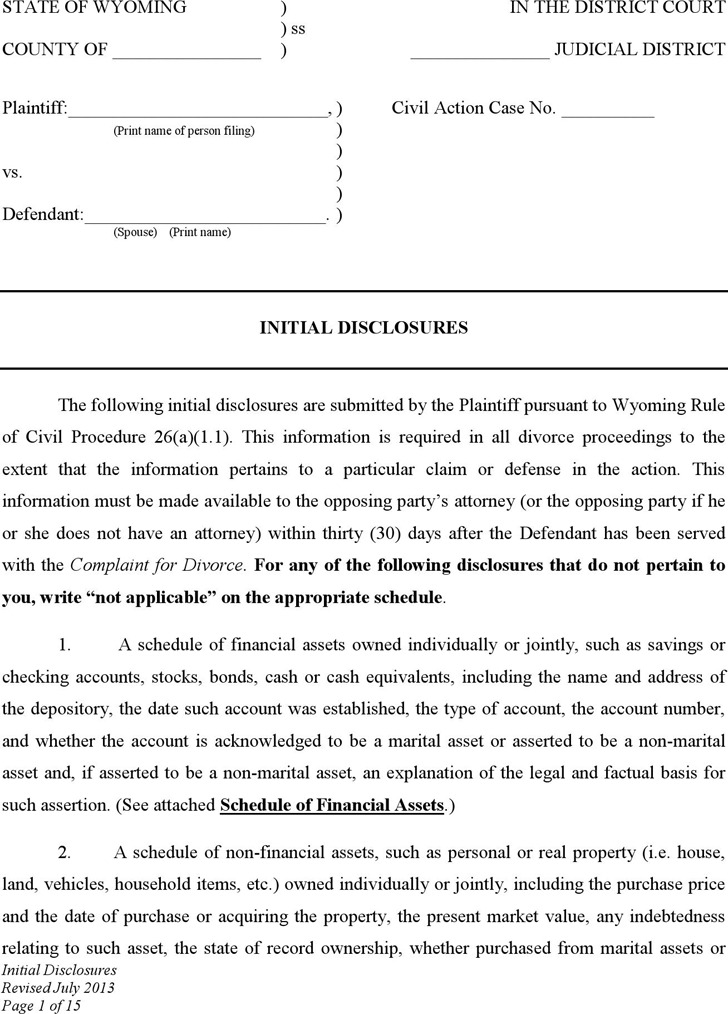 Wyoming Initial Disclosures Form
