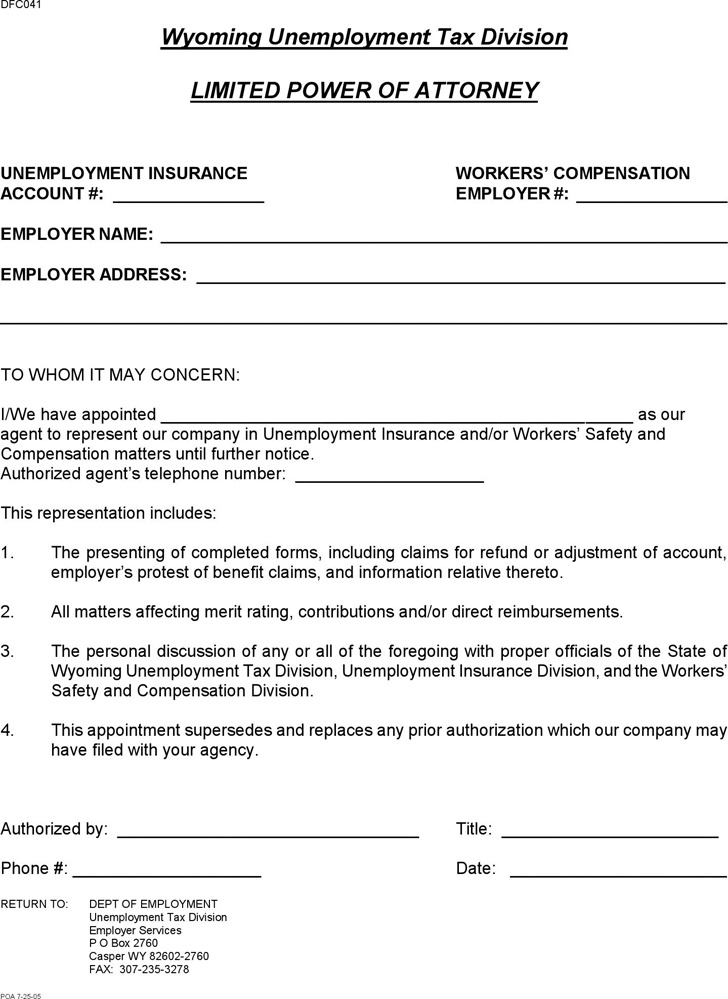 Wyoming Limited Power of Attorney Form