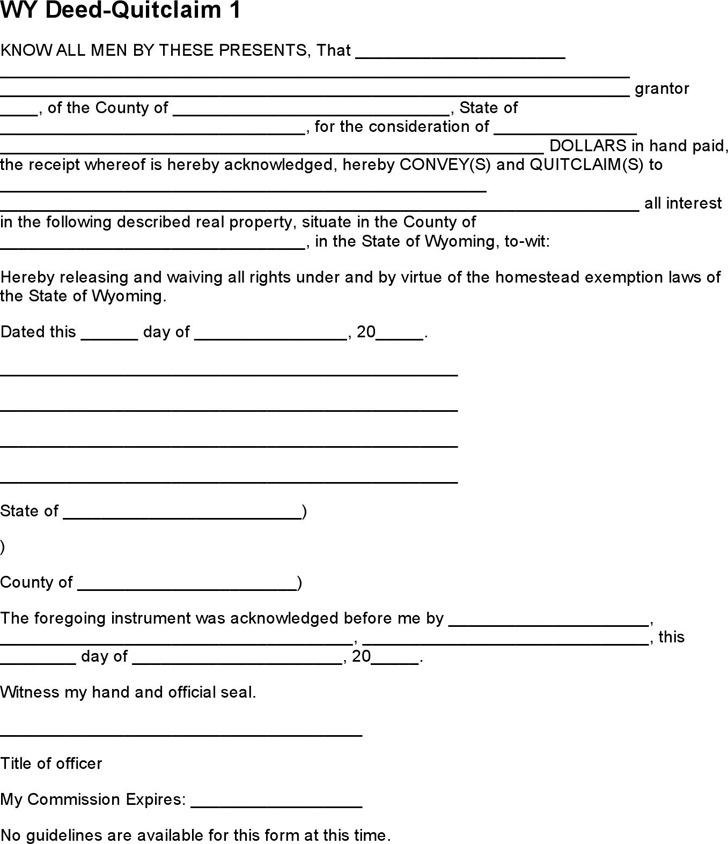 Wyoming Quitclaim Deed Form 2