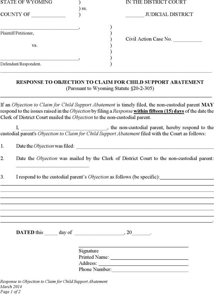 Wyoming Response to Objection to Claim for Child Support Abatement Form