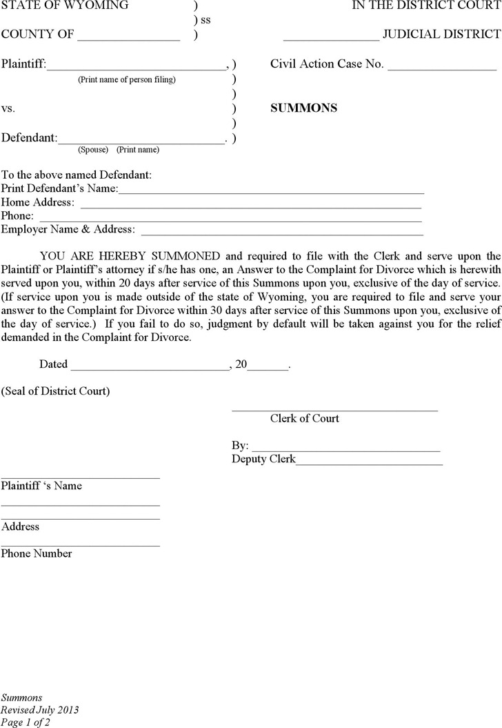 Wyoming Summons (No Children) Form