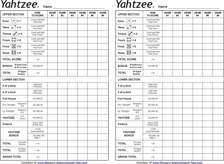 Yahtzee Score Sheets  Download Free  Premium Templates Forms