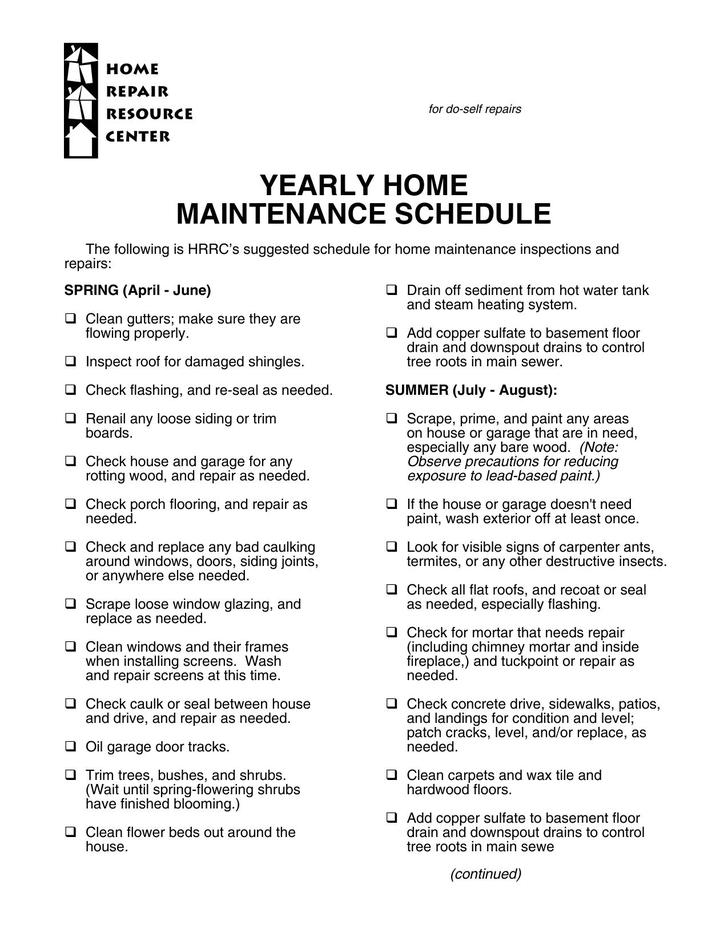 Maintenance schedule template download free premium for Yearly garden maintenance schedule