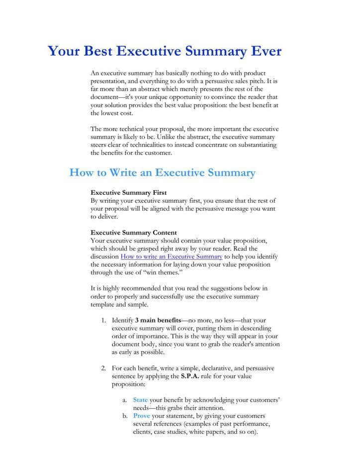 Your Best Executive Summary Ever Template Free Sample