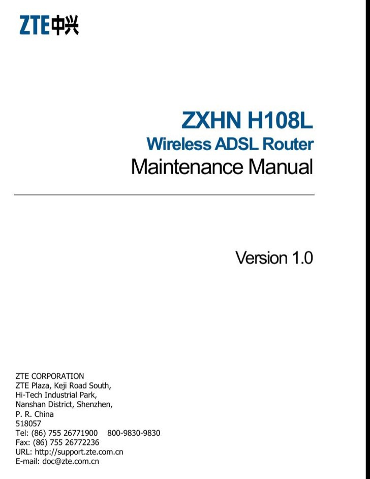 ZTE Maintenance Manual Sample